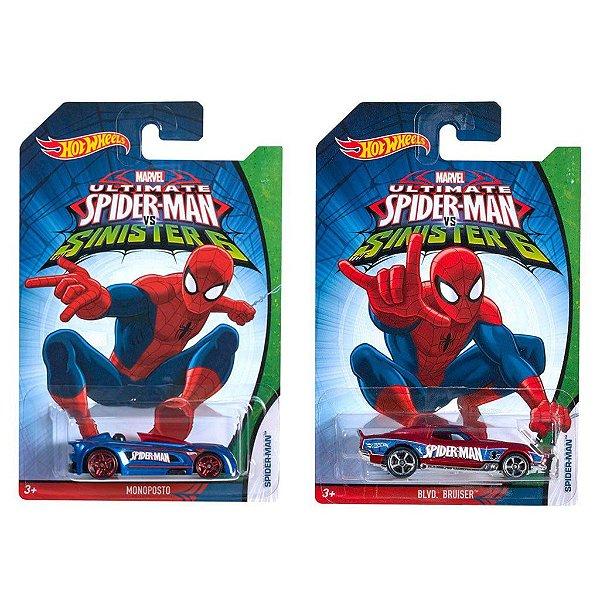 Kit 2 Carros Hot Wheels Ultimate Spider Man Vs Sinister 6 - Mattel