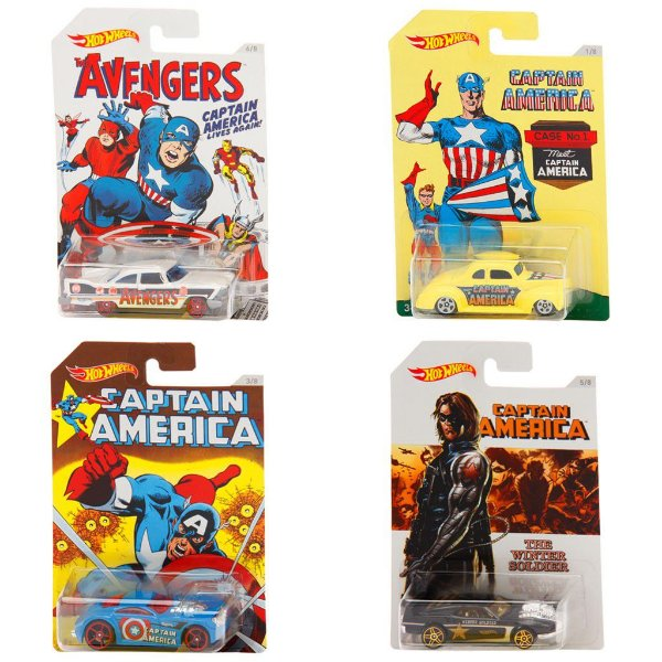 Kit Com 4 Carros Hot Wheels Captain America - Mattel