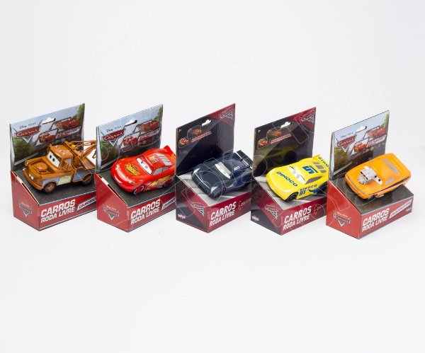 Kit Carros 3 Roda Livre Colecionáveis 13cm Carros Disney