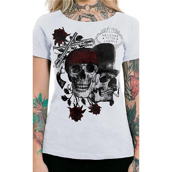 Camiseta Feminina Skull And Roses