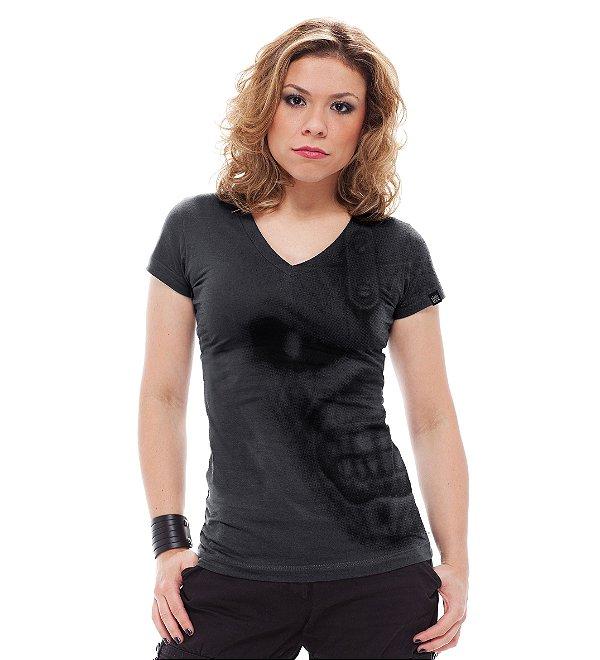Camiseta Feminina Iron Eddie Cinza