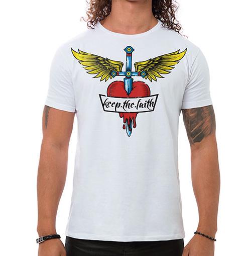 Camiseta Masculina Keep The Faith Branca