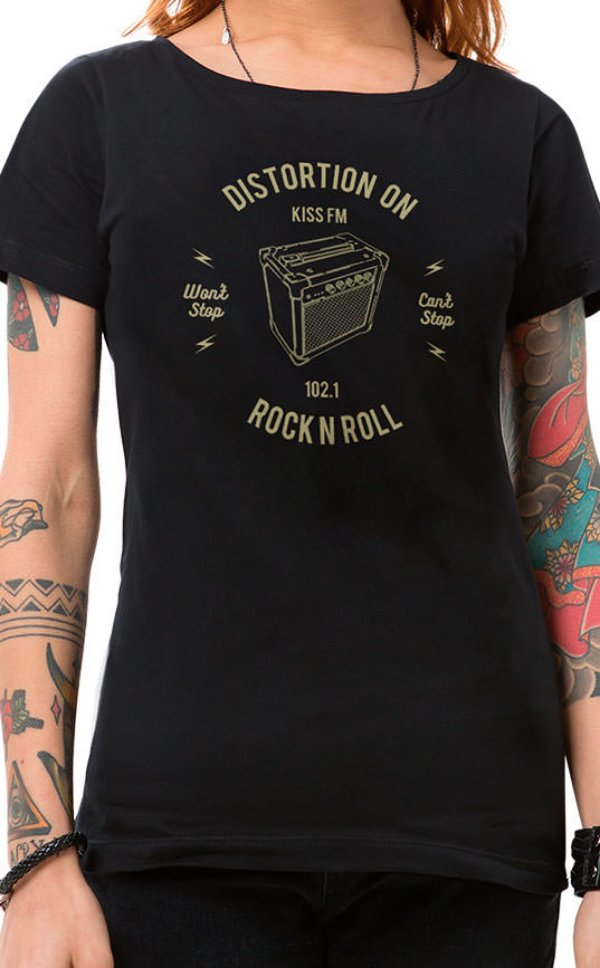 Camiseta Feminina Rock Box Preto