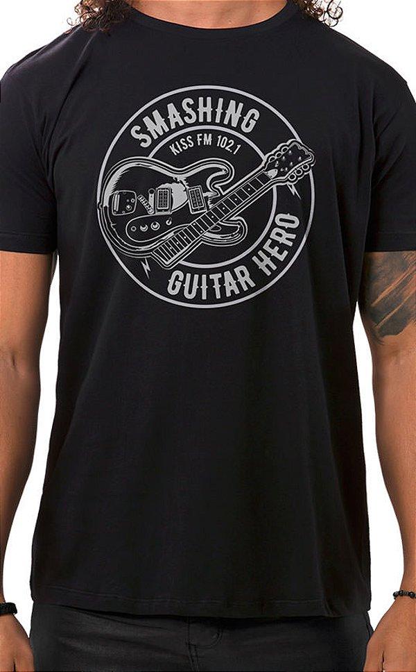 Camiseta Masculina Smashing Guitar Preto