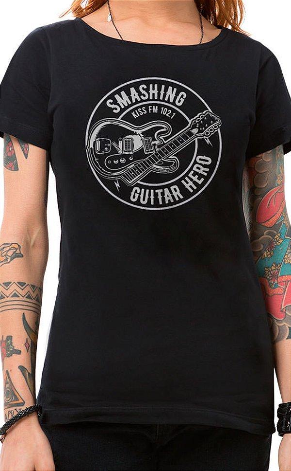 Camiseta Feminina Smashing Guitar Preto