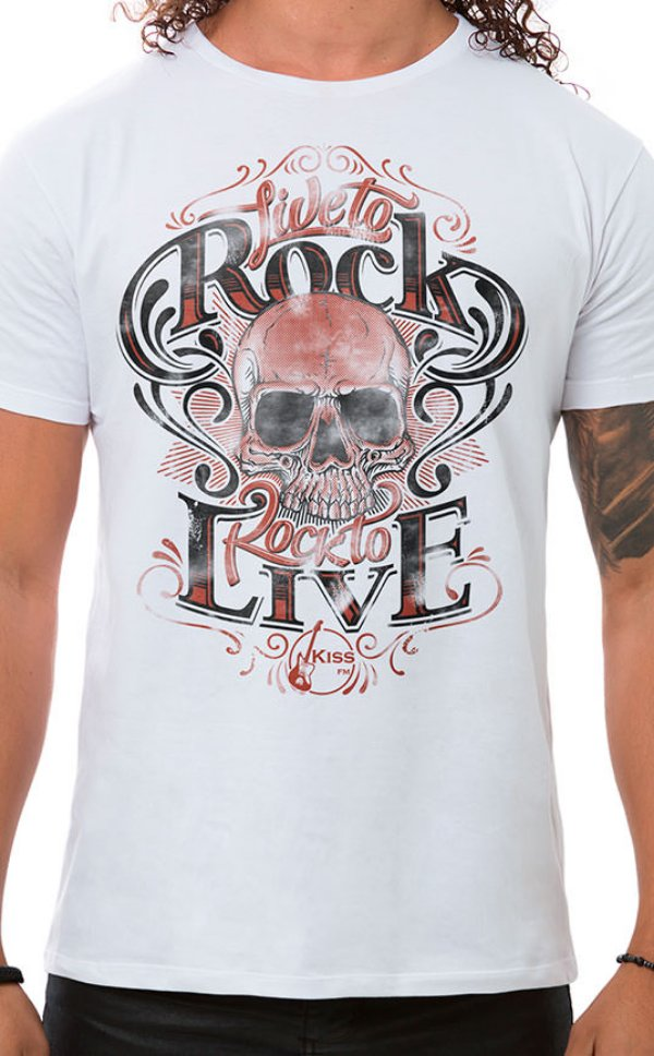 Camiseta Masculina Live to Rock Branco