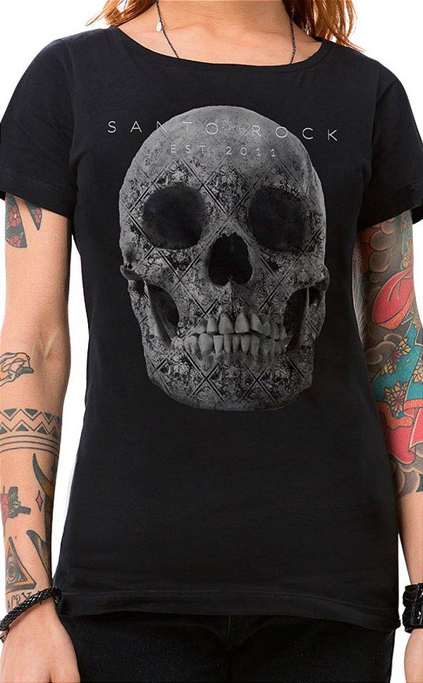Camiseta Feminina Tattooed Skull Preto