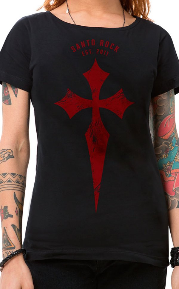 Camiseta Feminina Battle Cross Preto