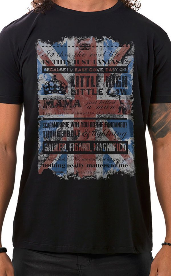 Camiseta Masculina Bohemian Queen Preto