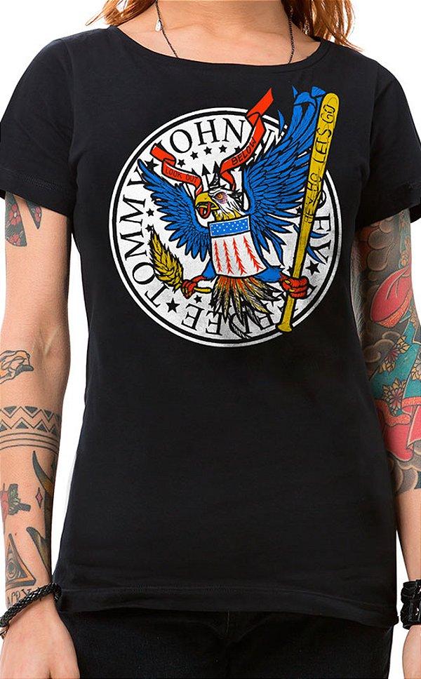 Camiseta Feminina Hey Ho Eagle Preto