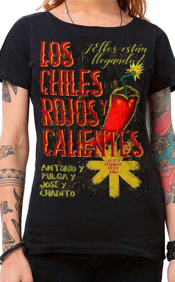 Camiseta Feminina Rojos y Calientes Preto