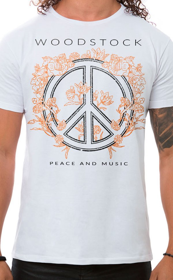 Camiseta Masculina Peace and Music Branco