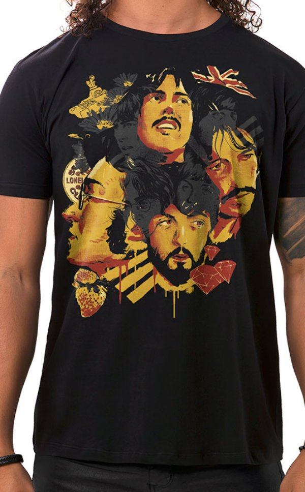 Camiseta Masculina Fab Four of Liverpool Preto