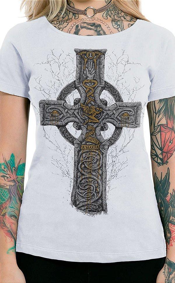 Camiseta Feminina Sabbath Cross Branco