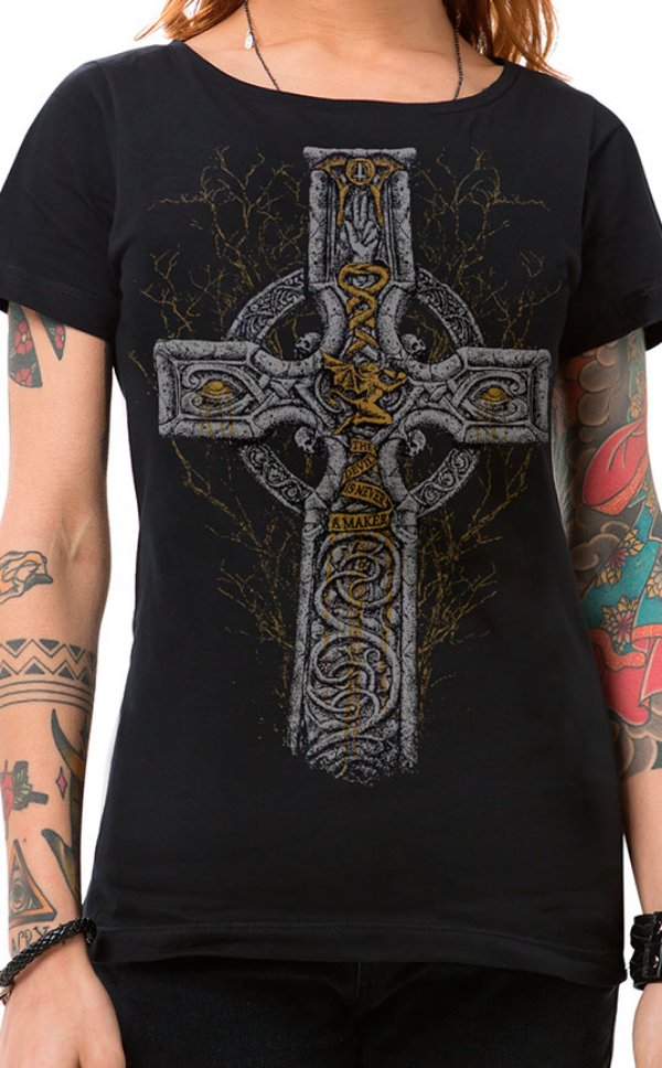 Camiseta Feminina Sabbath Cross Preto