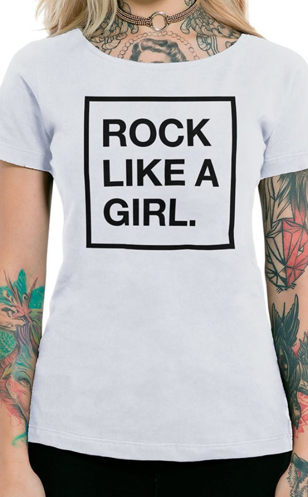 Camiseta Feminina Rock Like a Girl Branco