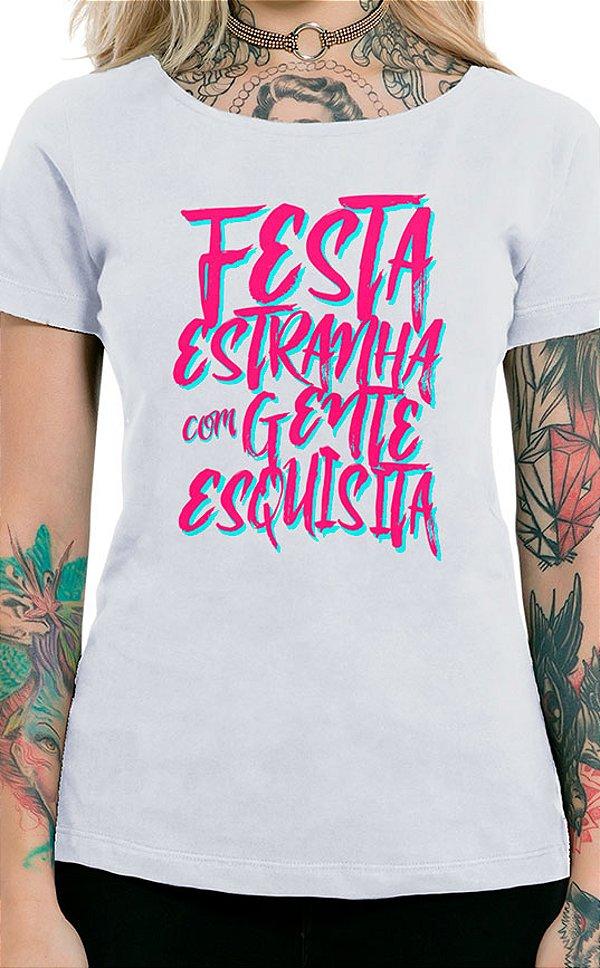 Camiseta Feminina Festa Estranha Branco