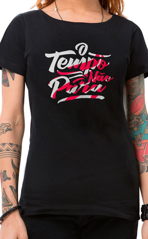 Camiseta Feminina O Tempo Não Pára Preto