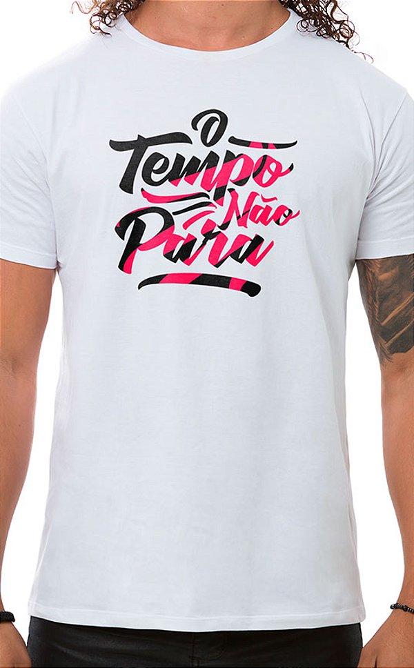 Camiseta Masculina O Tempo Não Pára Branco