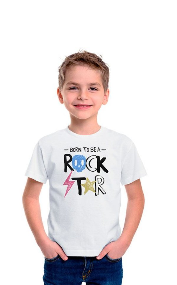Camiseta Infantil Born To Be a Rockstar Branco