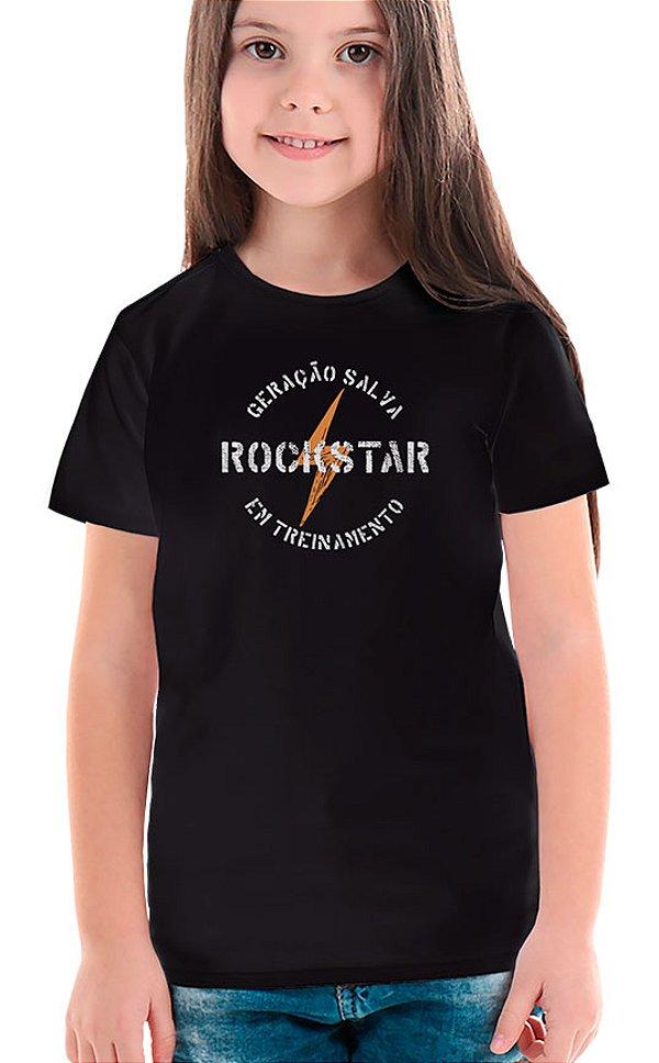 Camiseta Infantil Rockstar em Treinamento Preto