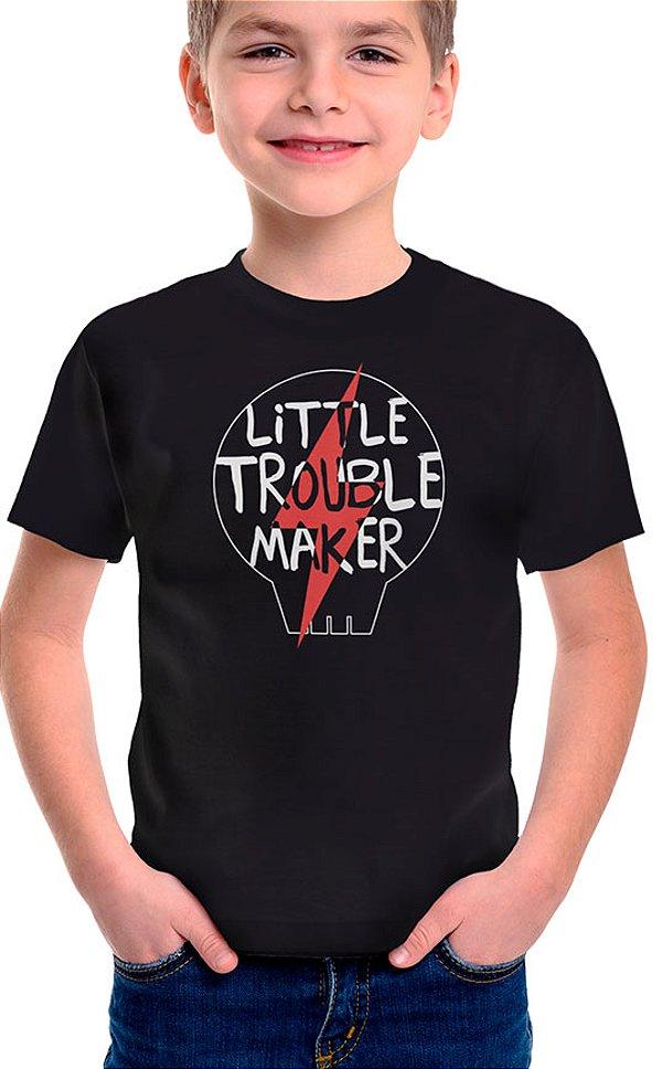 Camiseta Infantil Little Troublemaker Preto