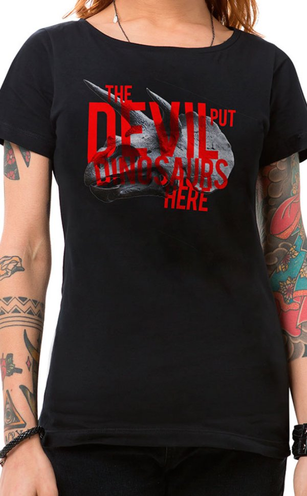 Camiseta Feminina Dinosaurs Preto