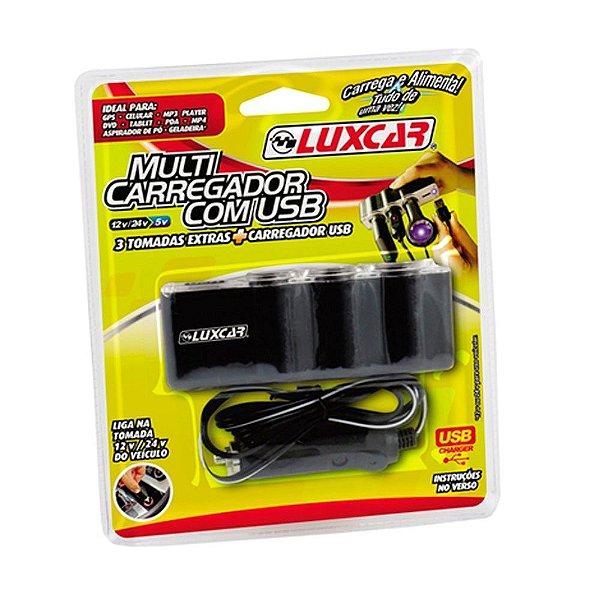 Carregador Veicular Triplo Luxcar Com Usb 3 Tomadas 12v 24v
