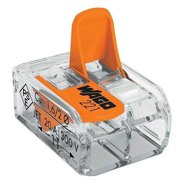 Kit 3 Conectores Wago 221 Automatico com Alavanca para Chuveiro Cabo 6mm