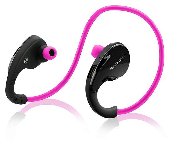 Fone de Ouvido Arco Sport PH183 Multilaser Bluetooth Rosa