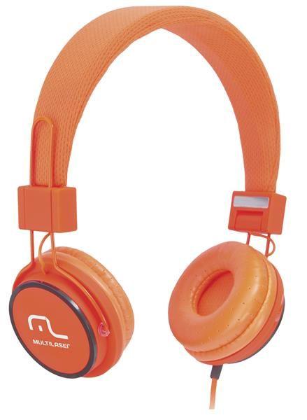 Fone de Ouvido Headphone Ph086 Multilaser Com Microfone P2 Laranja