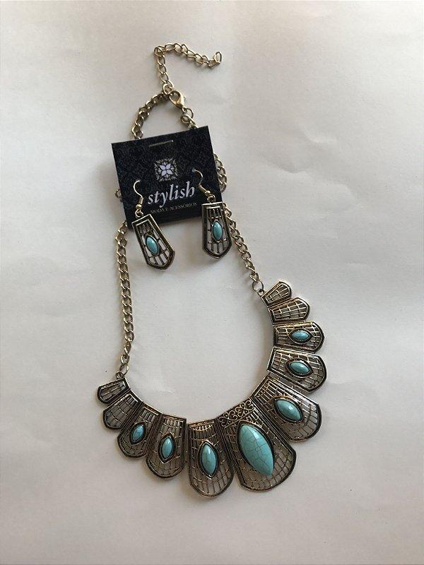 Conjunto Colar + Brinco Ouro velho com Pedras Azul Claro