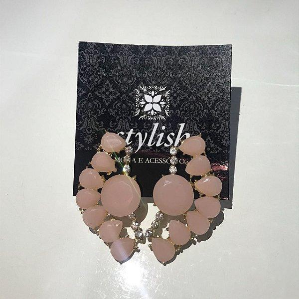 Brincos de pedras rosa