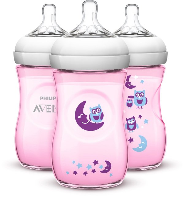 Kit 3 Mamadeiras Pétala 260ml Rosa Corujas Kit Phillips Avent