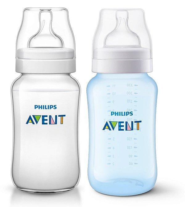 Kit 2 Mamadeiras Clássica Azul e Transparente Philips Avent 330ml