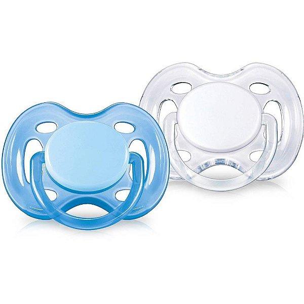 Chupeta Freeflow 0 a 6 Meses Azul E Branco Philips Avent 2 Unidades