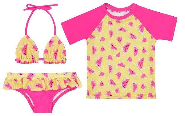 Kit Biquíni e Camiseta Melancia Rosa com Proteção Uv50 Everly