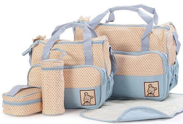 Kit Bolsas Maternidade 5 Peças Azul Claro Ebye