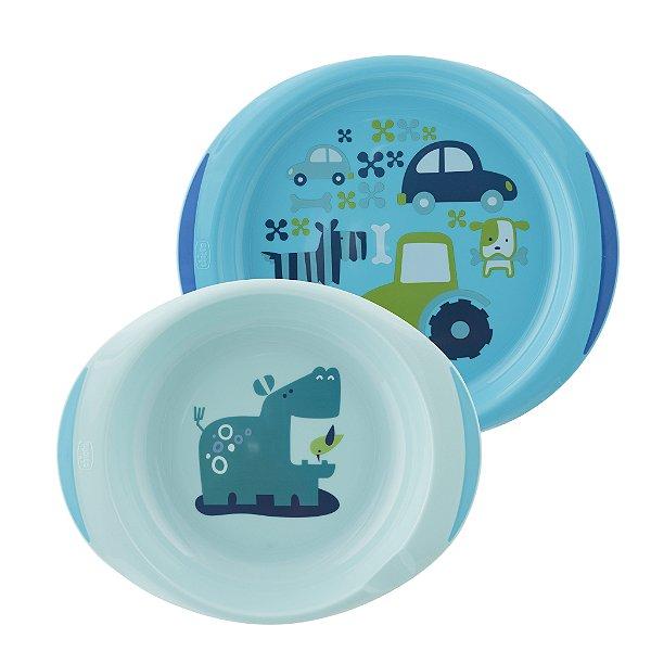 Conjunto de Pratos Fundo e Raso Hipopótamo Azul Chicco (12m+)