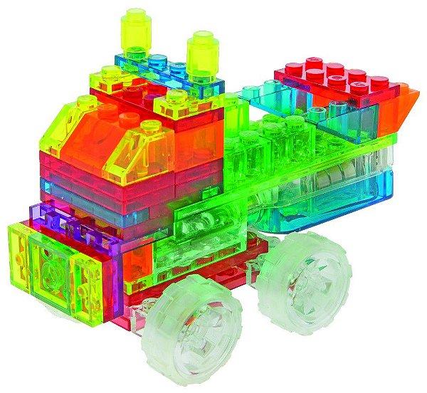 Blocos de Montar Mini Caminhões 4 em 1 com Luzes ZippyDo Laser Pegs
