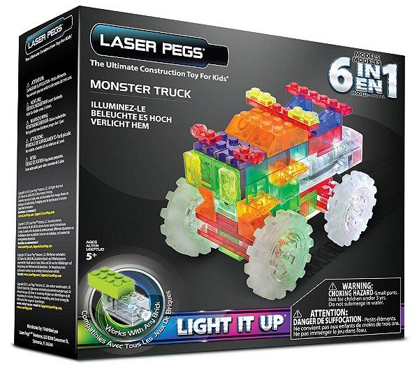 Blocos de Montar 6 em 1 com Luzes Monster Truck ZippyDo Laser Pegs
