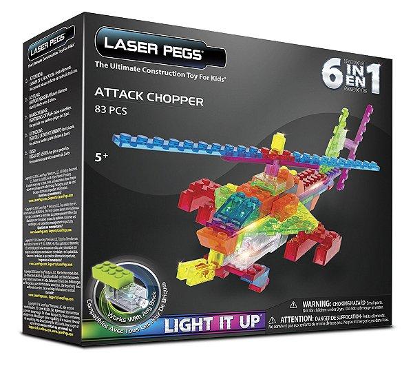 Blocos de Montar 6 em 1 com Luzes Helicóptero de Ataque ZippyDo Laser Pegs