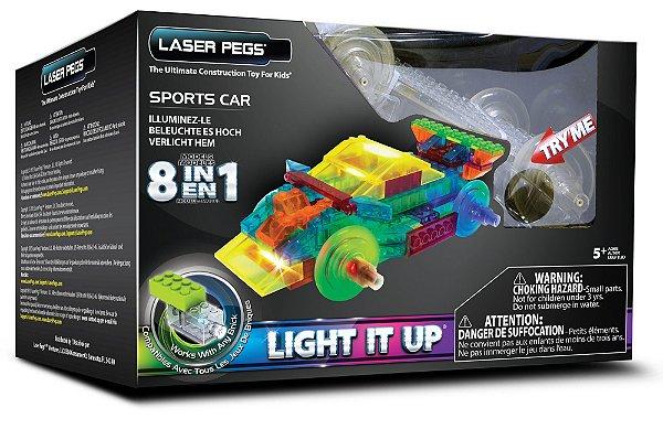 Blocos de Montar 8 em 1 com Luzes Carro Esporte Laser Pegs