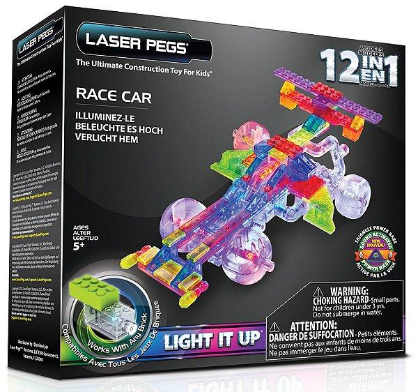 Blocos de Montar 12 em 1 com Luzes Carro de Corrida 1 Laser Pegs