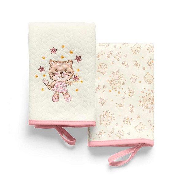 Pano de Boca Gato Rosa Mundo de Fantasia Hug Baby - 2 Unidades