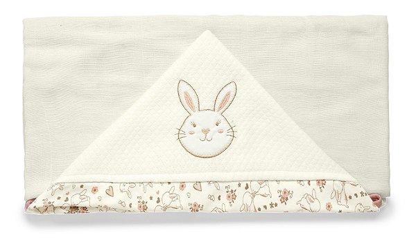 Toalha de Banho com Capuz Branca Hora do Chá Hug Baby