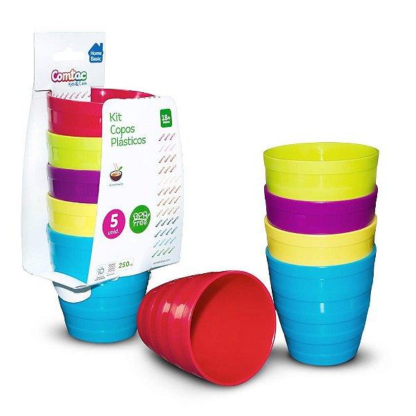 Kit Copos Plásticos Coloridos 5 Unidades Comtac Kids (18m+)