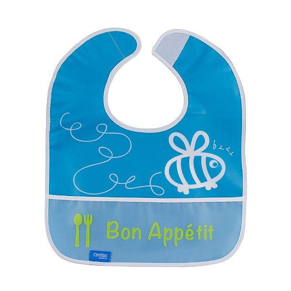 Babador Impermeável Plus com Bolso Abelhinha Azul Comtac Kids (9m+)