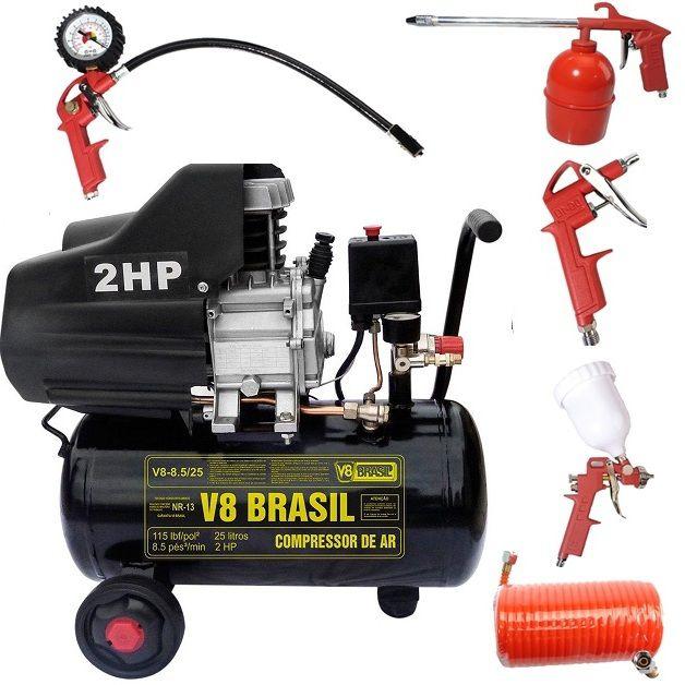 Compressor Ar 2hp 25 Litros 220v V8 85999 + Kit Pintura 423