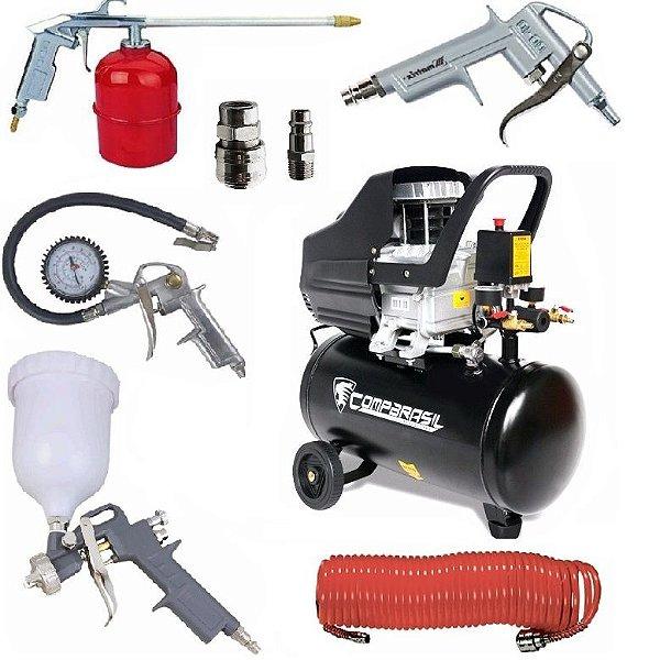 Compressor Ar 2HP 25L 220v 80-25l + Kit Pintura 5 Peças 573049 + Engate 570169 MTX